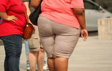 Obese person walking