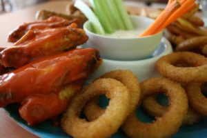 fried foods, onion rings, wings