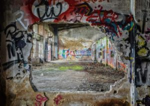 Graffiti in abandoned building