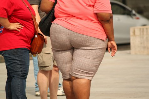 Obese woman walking