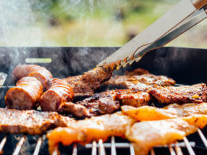 Food being grilled on barbecue