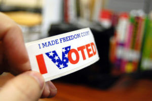 """""""I Voted"""" sticker on Election Day"""