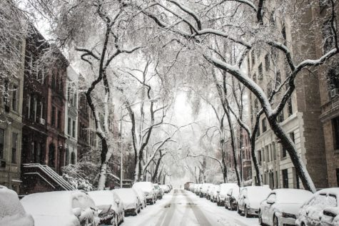 Snow covering a city street