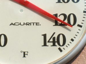 Thermometer showing hot temperatures