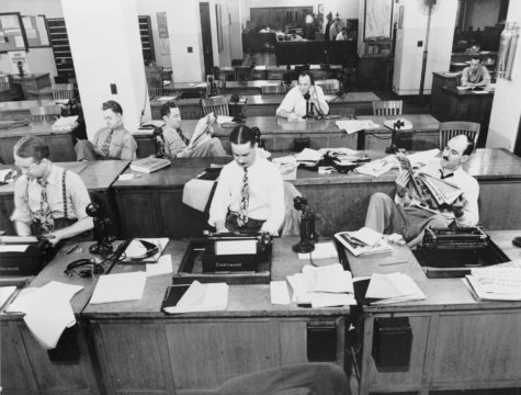 Vintage photograph of newsroom