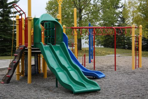 Playground with sliding boards
