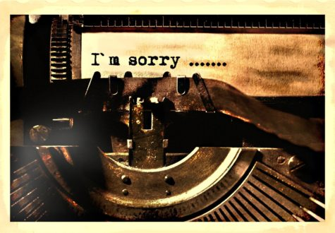 """I'm sorry"" apology on typewriter"