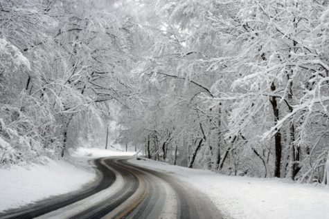 Snow-covered road in winter
