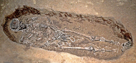 Detail of one of the burials from Sunghir, in Russia.