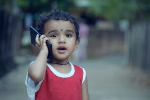 Young boy on smartphone