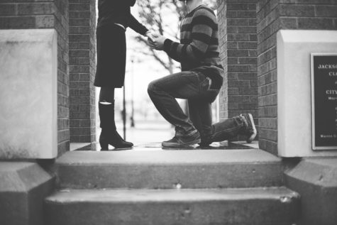 Man proposing marriage to woman