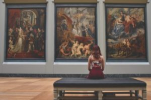 Woman at art gallery