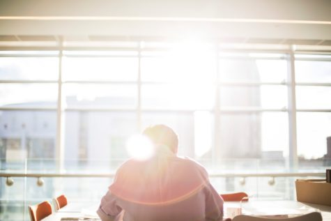 Office worker sitting at sunny desk