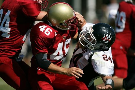 Tackle in football game