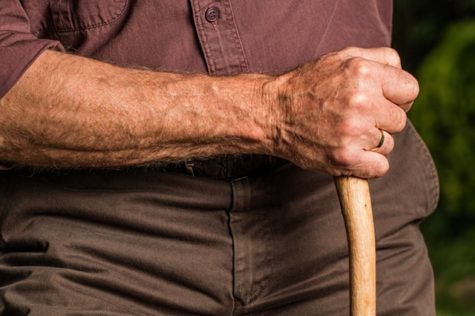Older man holding cane or walking stick