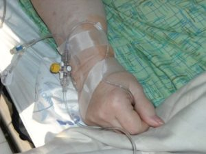 Woman with IV drip injection