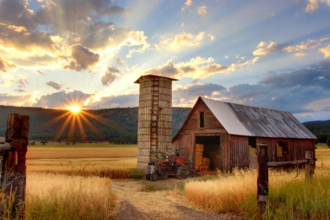 Sun setting over a farm
