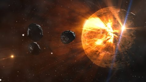 Asteroids colliding with planet
