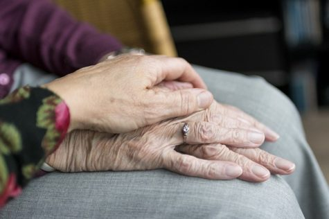 Elderly person's hands being held