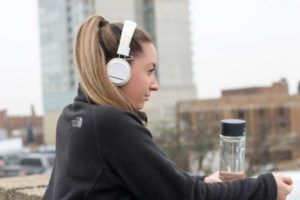 Woman listening to music before workout