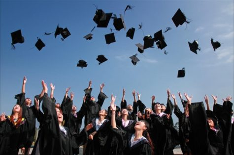 Graduates throwing their mortarboards