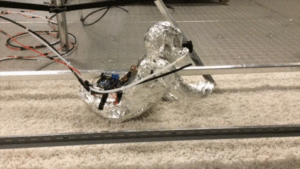 Robotic baby crawling on floor