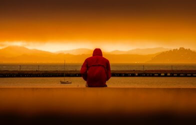 Man alone at sunset