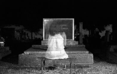 Ghost at cemetery