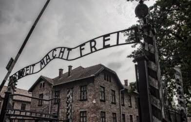"""Arbeit Macht Frei"" sign seen outside Holocaust concentration camp"