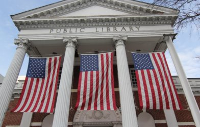 Public library with American flags