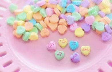Heart-shaped Valentine's Day candies