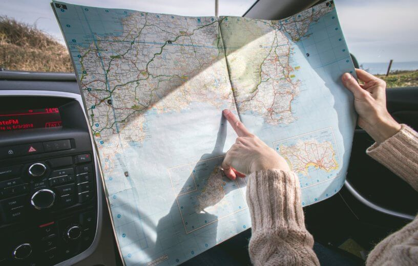 Person looking at a map