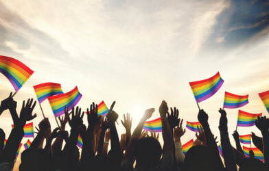 Rainbow flag celebration for same-sex marriage