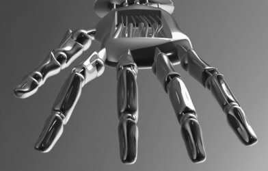 Robotic mechanical cybernetic metal arm. 3D rendering