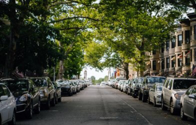 Cars parked on city street