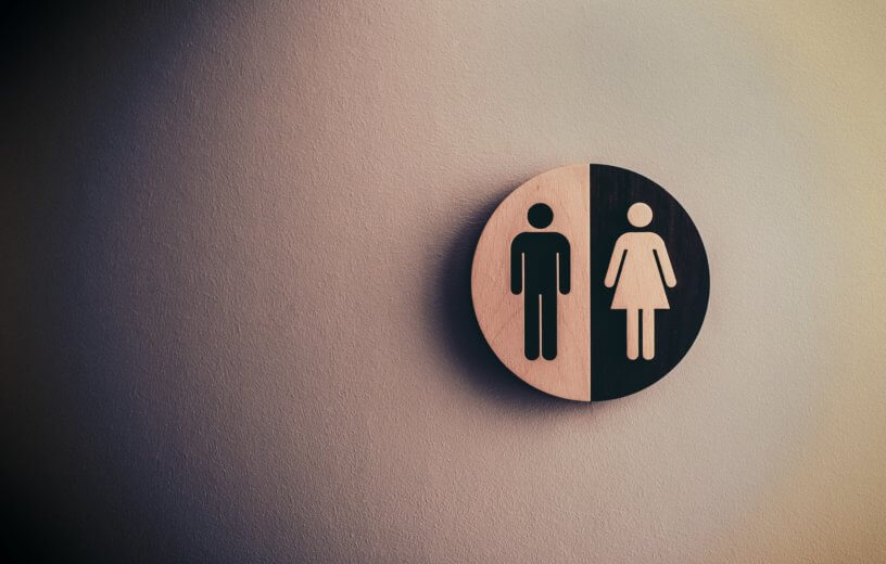 Men's and Women's Unisex bathroom sign