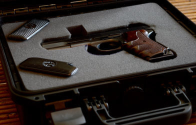 Handgun in gun case