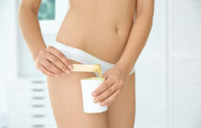 Woman getting ready for bikini wax