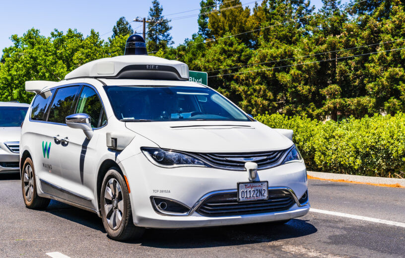 Waymo self-driving car testing on California road