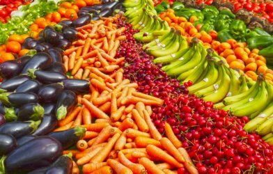 Produce section: fruits and vegetables