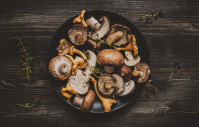 Mixed mushrooms in a pot