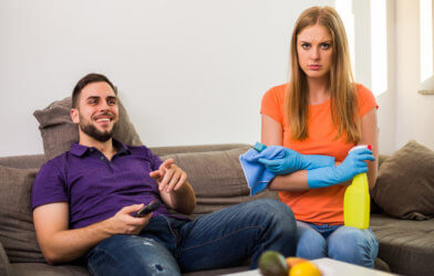 Couple arguing over cleaning chores