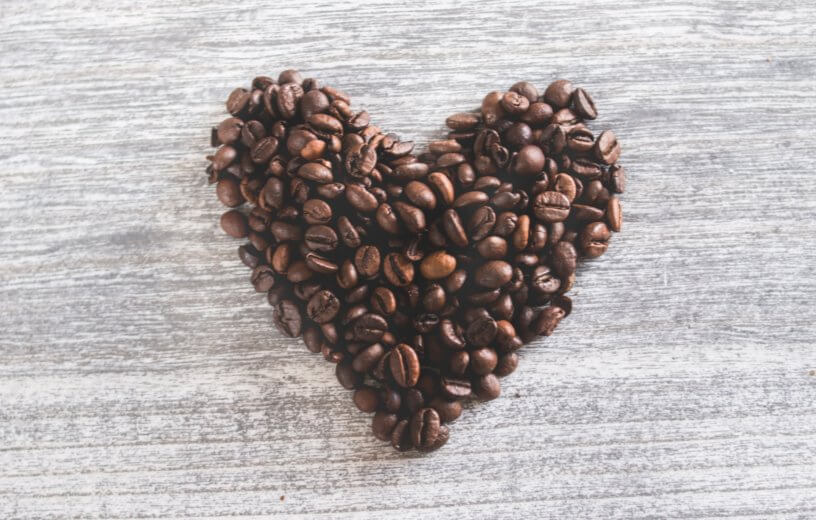 Coffee beans shaped as a heart