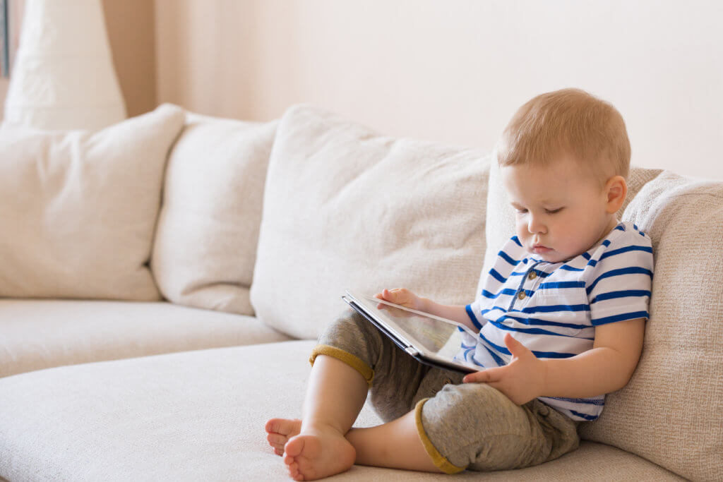 Toddler using ipad