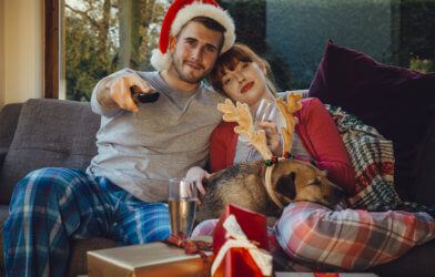 Couple watching holiday or Christmas movie