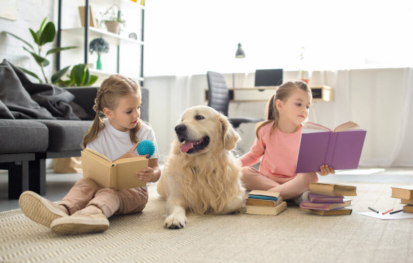 Children reading books to dog