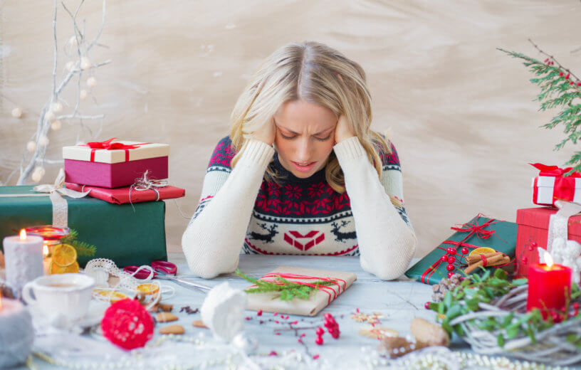 Woman stressed about Christmas and holidays