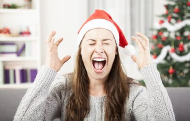 Woman stressed on Christmas