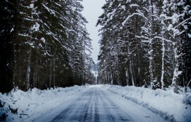Winter weather: Snowy road