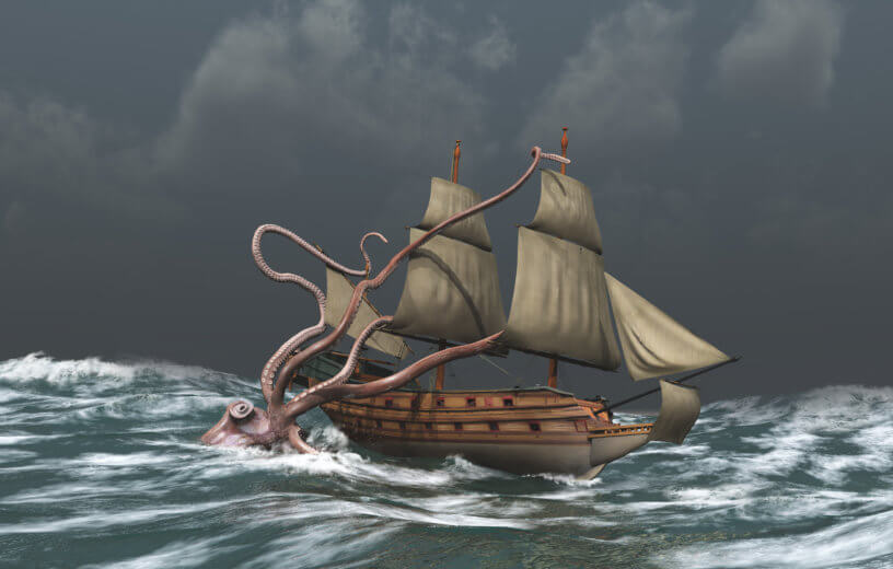 Giant squid or kraken attacking ship